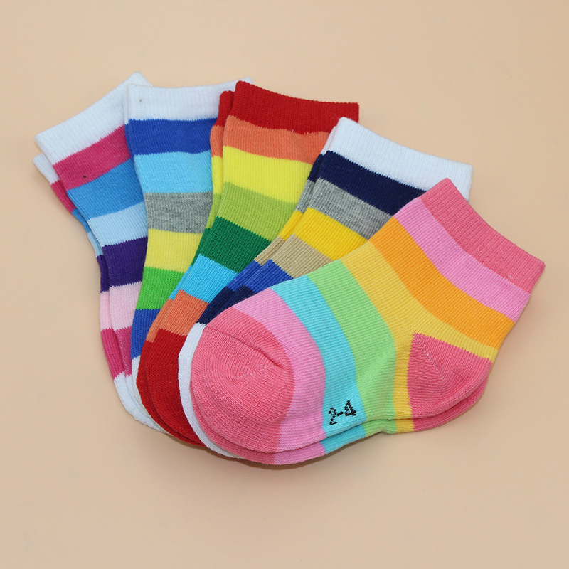 5 Pairs / Lot Fashion Toddler Baby Socks Boy And Girl Rainbow Striped Cotton Socks Kids In tube Socks Children Sock 1-6 Years 3