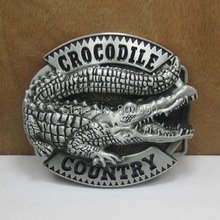 CROCODILE COUNTRY belt buckle with pewter finish FP-03540 suitable for 4cm wideth belt with continous stock(China)