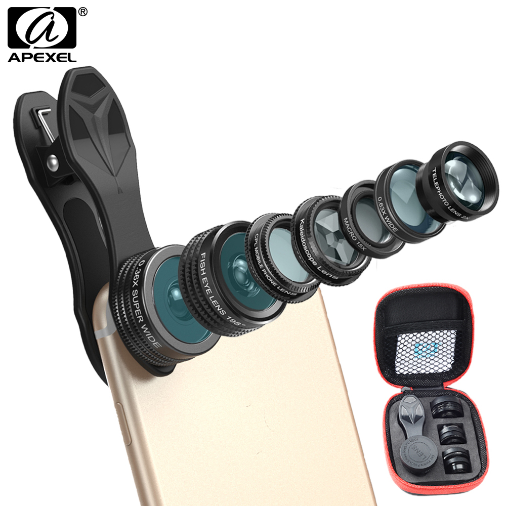 APEXEL Phone Camera Lens Kit Fish Eye Wide Angle/macro Lens CPL Kaleidoscope and 2X telephoto zoom Lens 7in1 for iPhone SAMSUNG 16