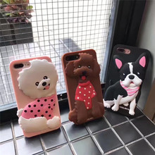 New Pattern Lovely 3D Animal Dog Silicone Silicon Dog Cartoon Soft Phone Back Case Cove For iPhone 6 6S 7 Plus Case 4.7 And 5.5(China)