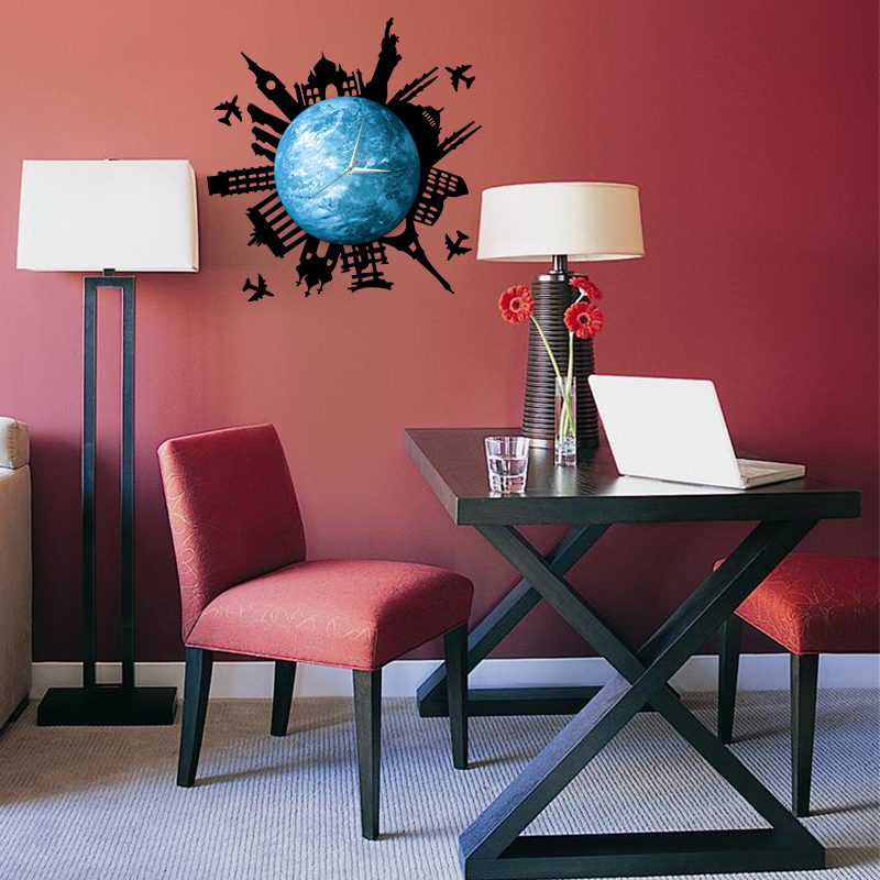 Glow in Dark Planet DIY Wall Clock with World Building Stickers