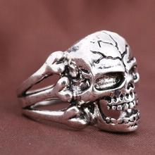2016 New Fashion Jewelry Gothic Men Skull Head Design Zinc Alloy Ring Men Finger Rings Free Shipping