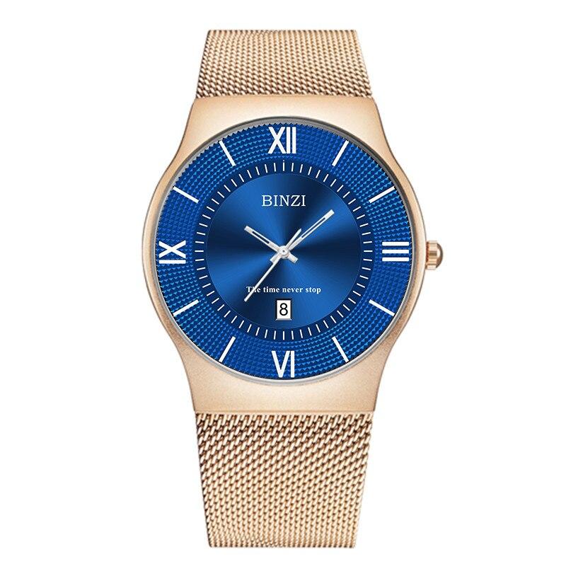 BINZI Luxury Quartz Watches Men Clock Relogio Masculino Watch Men Mesh Stainless Steel Wrist Watch Business Gold Black Blue<br>