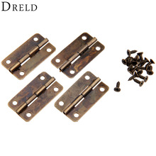 4Pcs Antique Bronze Cabinet Hinges for Caskets Furniture Accessories Drawer Hinges for Jewelry Boxes Furniture Fittings 30x17mm(China)