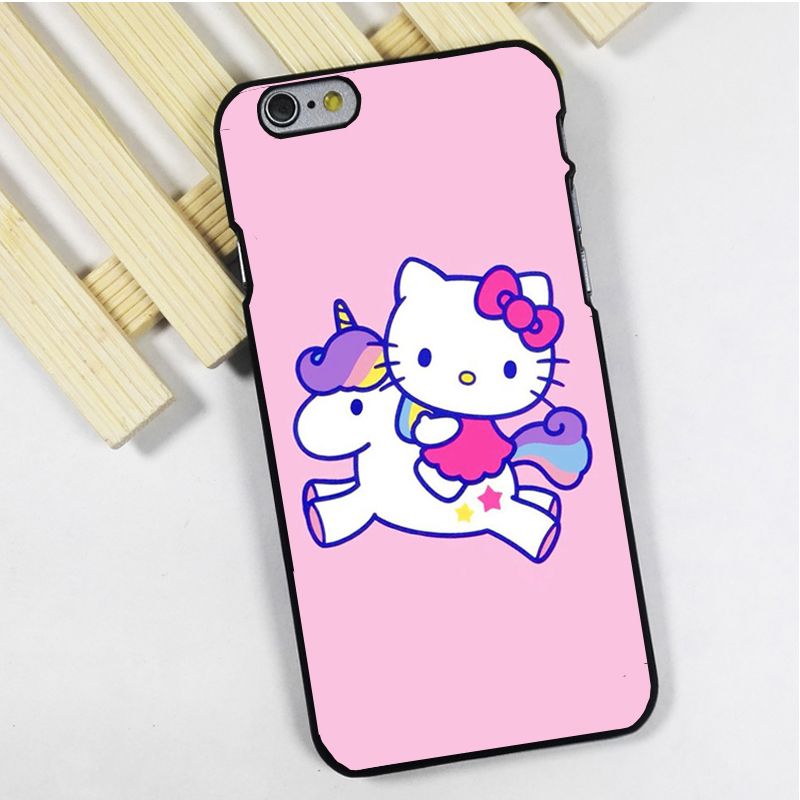 Fit for iPhone 4 4s 5 5s 5c se 6 6s 7 plus ipod touch 4 5 6 back skins phone case cover Hello Kitty Unicorn Pink Colourful(China (Mainland))