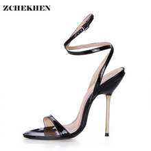 Summer Gladiator Sandals Women High Heels Sandals Black gold Peep Toe Sexy Wedding ankle strap Sandals Women F3845-1-8-i13(China)