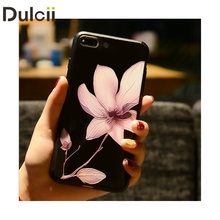 Dulcii Floral Capa for i7 i8 Case Embossment Flower Matte TPU Chinese Lotus Flower Classic Case for iPhone 6 7 8 plus Phone Case(China)