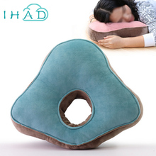 High quality velvet cotton cushion can use in classroom office nap breakrest pillow cervical spine lumbar rest cushion(China)