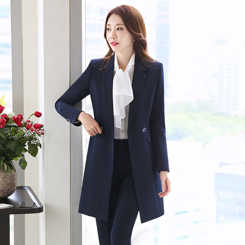 Pant Suits Women Casual Office Business Suits Formal Work Wear Sets Uniform Styles Pant Suits Long female Coat+pants 2 Piece Set