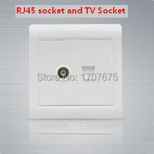 2PCS/lots 110~250V,RJ45 socket and TV Socket wall Mounted Coaxial Outlet  Wall Plate Free Shipping