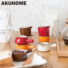4 Colors Ceramic Coffee Milk Cup Non-Stick Milk Pan Pottery Milk Pot Handle Sugar Pan Creative sugar creamer Pot Cooker