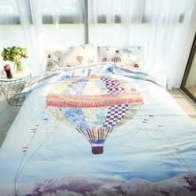 Cotton bedding set single size blue duvet cover hot air balloon pillowcases stripe bed sheet double queen king size bedroom set(China)