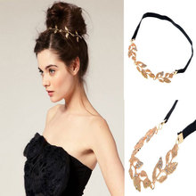 Fashion Women Crystal Gold Leaves Headband Grecian Garland Forehead Hairband Head Chain Gold Olive Branch Hair Accessory