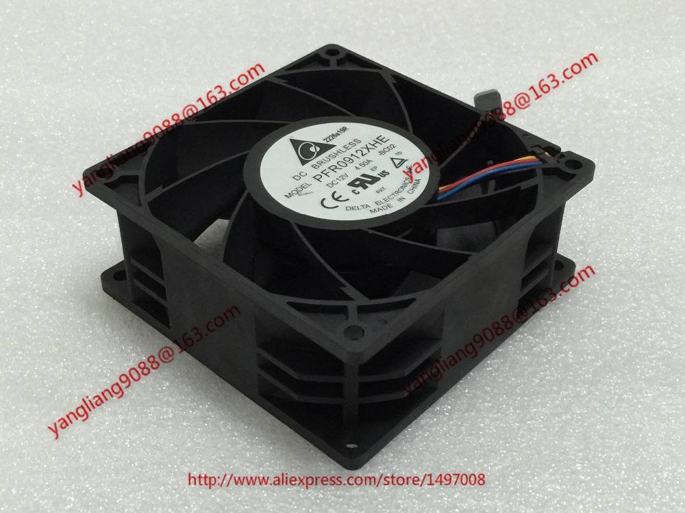 Free Shipping For  DELTA PFR0912XHE, -BC02 DC 12V 4.50A, 90x90x38mm 50mm, 4-wire 4-pin connector Server Square Cooling Fan<br>