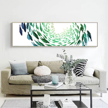 Modern Canvas Print Painting Poster of The Swirling Vortex of Fish,Unframed Chinese Ink Painting  Wall Picture of Swimming Fish