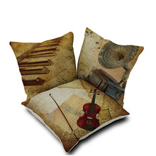 Vintage style Classical instruments Violin piano rhythm phonograph flow jazz blues decorative throw pillows retro cushion cover