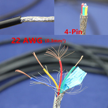 1 meters Copper Electrical Wire 4 Pin 22 AWG Anti-interference shielded wire Signal line Wire Electric cable(China)