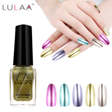 LULAA Gel Polish Nail Polish 5 Colors 6 ML Glue Art Gel Lacquer Newest Colors Nail Polish Gorgeous Mirror Metal Bright(China)
