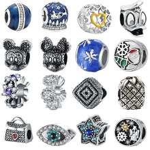 ree shipping 1pc silver European snowflake duck mickey minnie flower star beads Fits Pandora Charm Bracelets & Necklaces mix034(China)