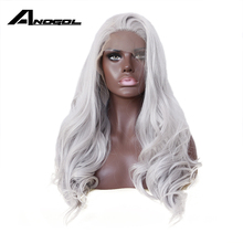 Anogol Long Natural Body Wave Gray Silver Glueless Synthetic Lace Front Wig for Black Women African Heat Resistant Hair Wigs(China)