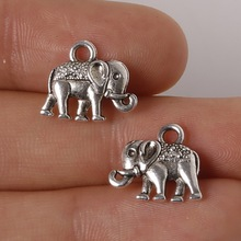 12pcs/lot Zinc Alloy Antique Silver Plated Elephant Charms Pendants DIY for Jewelry Accessories(China)