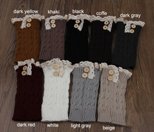 6pair /lot women's Superior new Women Knit lace Boot Cuffs Socks Buttons Leg Warmers  Knitted 8 colors choose