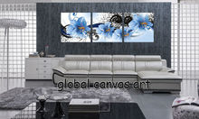 Free Shipping 3 panel  Modern Home Decoration wall art picture classics Ink blue canvas Print flower oil painting canvas art
