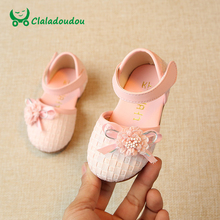 Claladoudou 12-14CM Baby Sandals Kids Girl White Flower Moccasins Sandals For Toddler Slipper Princess Silvery Cute Infant Shoes