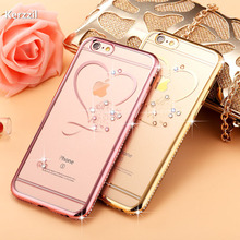 Luxury 3D Diamond Crystal Plating +Transparent Clear TPU Case For iPhone7 6 6S Plus Soft Silicone Cover For iPhone 6 7 6s Capa