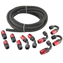 AN10 Oil Fuel Fittings Red And Black Hose End Oil Adaptor Kit+AN10 Nylon Braided Black Hose Oil Fuel Hose Line 5Meter