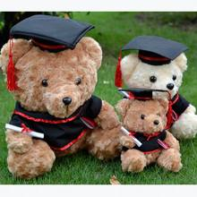 19cm Graduation Teddy Bear Tactic Bear Plush Long Wool Doll Cartoon Stuffed Toy For Doctor/Students Gifts