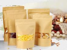 12*20cm stand up Kraft paper zipper bag with window, 100pcs/lot chocolate/sugar ziplock pouch resealabel-dustproof sack(China)