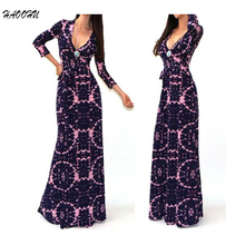 Buy 2016 Autumn New Women Package Hip Maxi dresses vestidos De Festa Sexy V-neck long sleeve Printed long dress belt 964 DX for $12.91 in AliExpress store