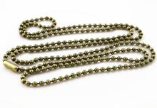 5pcs 2mm Bronze Plated Ball Beads Chain Necklace Bead Connector 65cm(25.5 inch) (Z1-08)(China)
