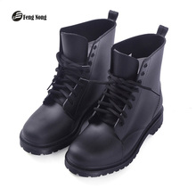 Fengnong new design rain boots waterproof shoes woman water rubber lace up ankle martin boots good quality botas chundong809