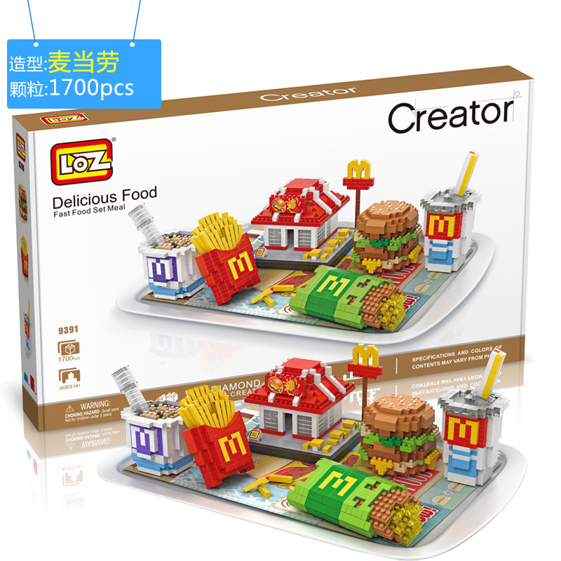 New Arrivals LOZ Diamond Building Blocks 3D McDonalds Creator Model Delicious Food Bricks Nano Bricks Children Educational Toys<br>