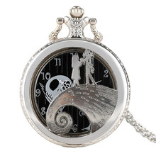 The Nightmare Before Christmas Silver Quarzt Pocket Watch Pendant Jack Skellington Movie Necklace Gift for Children Kids Fans(China)