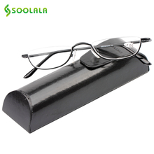 SOOLALA Slim Reading Glasses Womens Men Brand Semi-Rimless Alloy Flat Top Half Frame Glasses w/ Leather Box +1.0 1.5 1.75 to 4.0(China)
