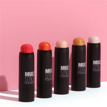 Professional Makeup Cheek Blusher Long Lasting Shimmer 5 Color Pigment Minerals Face Contour Baked Bronzer Make Up Blush Stick(China)