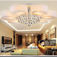 Crystal Led Ceiling Lights modern fashionable design dining room lamp pendente de teto de cristal white shade acrylic lustre