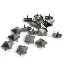 100pcs DIY 8mm Black Gun Pyramid Rivet Spiker For Bag Leather Bracelets Clothes Apparel Sewing Garment Rivet(China)