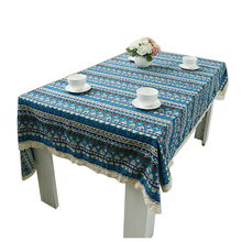 New Tablecloth for Dinner Lace Cloth Bohemia Style Decorative Army Blue Style Table Cloth 6 Size 3 Colors