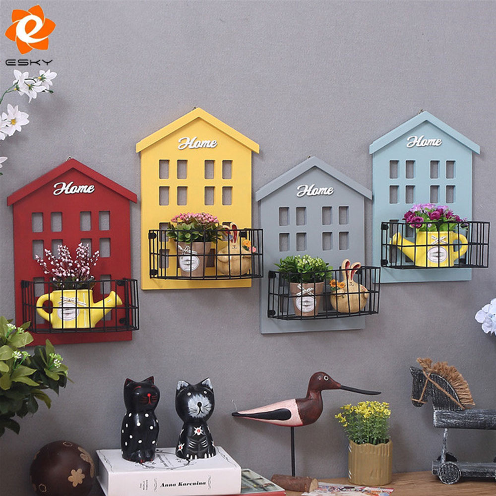 european style home wall decoration multi color wall hanging woodeniron small house creative wall decorations for bar pub cafe - Multi Cafe Decoration