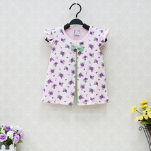 Little Q Baby 100% Cotton Blouse Girls O neck One Piece Dress Kids Shirts Dressed Clothes Floral Pattern Bowknot Party Clothing(China)