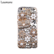 Laumans Bling Diamond Rhinestone handbag Hard Case Cover for iphone4s 5s 5c 6s 6plus 7 8 plus X flower Handmade Phone back shell(China)