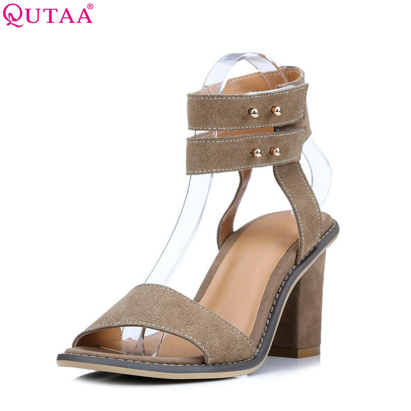 QUTAA 2017 Rivet Women Sandal Square High Heel Summer Slingback Women Shoes Genuine Leather Ladies Wedding Shoes Size 34-39<br>