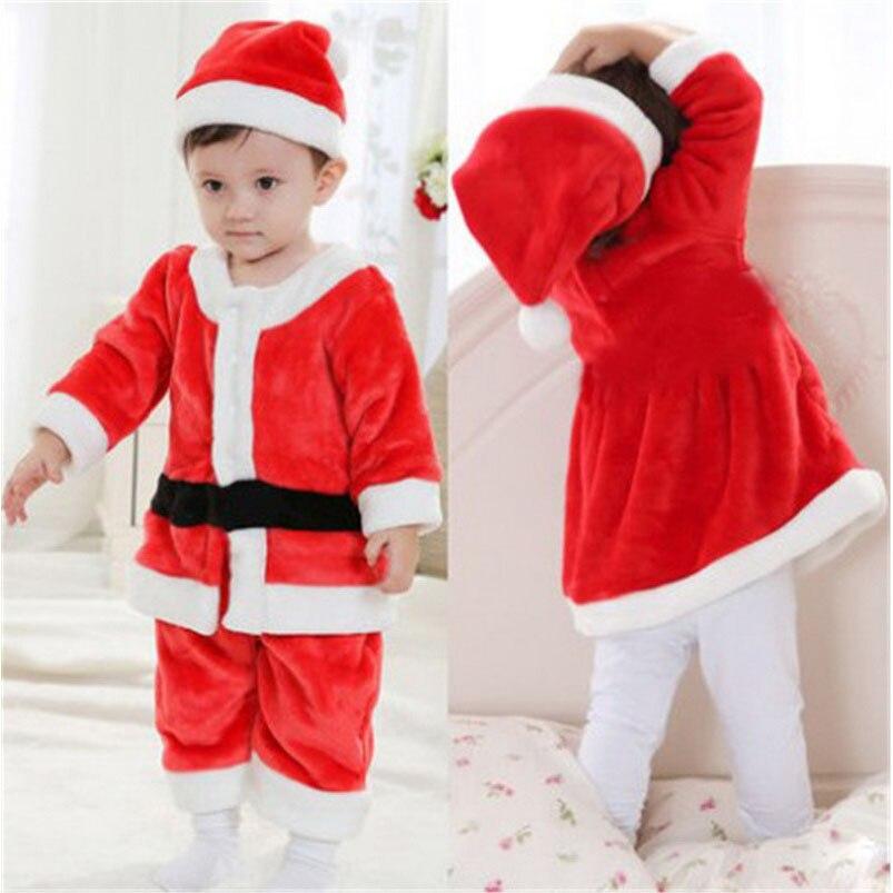 От 1 до 3 лет-лет для мальчиков и девочек костюм с рождественским рисунком и платье Детская Наряжаться Санта Клаус Детский новогодний костюм(China)