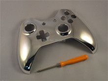IVYUEEN Silver Chrome Blue Front Top Up Shell Case Faceplate for Microsoft Xbox One Controller Cover(China)