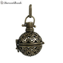 DoreenBeads Copper Wish Box Pendants Round Star Carved Hollow Can Open (Fits 18mm Beads) 35mm x 21mm, 1 PC
