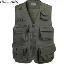 HULILONG New Mesh Vests For Shooting Men Multi-pocket Photographer Vest Reporter Director Vest